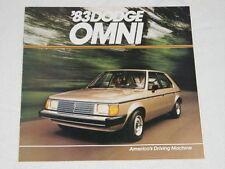 NOS 1983 Dodge Omni Color Car Automobile Brochure MINT Condition