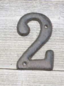 Rustic BROWN Cast Iron Metal House Numbers Street Address # Phone Number 2 TWO