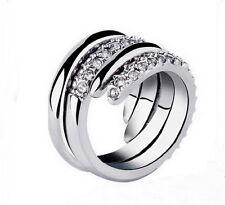 Damen Strass Ring zweiteilig silber Gr. 53 16,8 mm Kristall