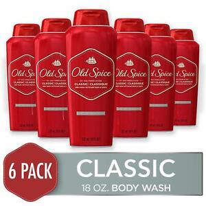 6 PACK Old Spice Classic Scent Men's Body Wash 18 Fl Oz