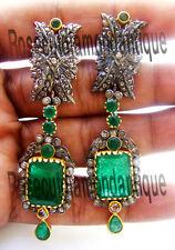 Cut Diamond Silver Emerald Earrings Handmade Victorian Style 4.34ct Antique Rose