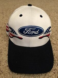 Ford American Flag Flame Embroidered Red White Blue Adjustable Baseball Hat NWOT
