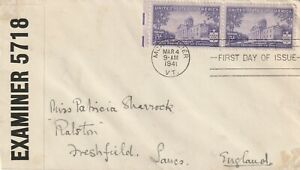 1941 USA censored cover sent from Montpelier VT to Freshfield,Lancs UK