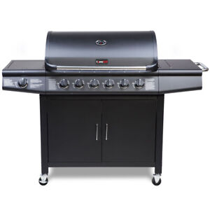 CosmoGrill 6+1 Deluxe Gas BBQ Black Barbecue Grill Side Burner 93416
