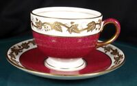 Wedgwood Whitehall Powder Ruby Cups & Saucers - W3994 - 1st Quality