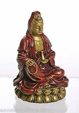 "Kuan-Yin on Lotus Miniature Statue Personal Devotion for Travel 3.5""H O-137GR"