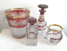 Czech Bohemia cranberry cut to clear art glass FOUR items - FREE SHIPPING