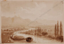 """Riverscape"", by Isidore-Laurent Deroy (1797-1886), miniature drawing, 1820s"