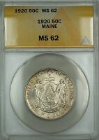 1920 Maine Commemorative Silver Half Dollar 50c Coin ANACS MS-62