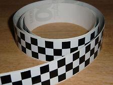 Negro + Blanco Checker Cinta - 4 Pies X 1en - 3 Plazas / Chequer Stripe