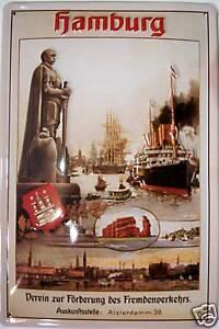 Hamburg Blechschild Schild Blech Metall Metal Tin Sign 20 x 30 cm