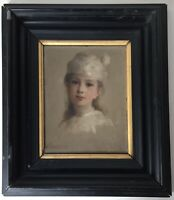 Rare 19th century French oil impressionist painting portrait Girl MANET