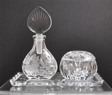 Vintage Princess House Heritage Romance Vanity Set Etch Floral Leaf Crystal Y33