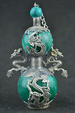 Collectible Miao Silver Jade Carving Dragon Phoenix Gourd Shape Snuff Bottle