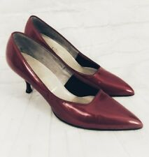 Vintage 1950s Fiancees Red Pearl Patent Pumps Heels 9.5 B Holiday