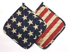 Set of Two (2) Great Finds TYLER STARS Quilted Cotton Pot Holders Red Blue