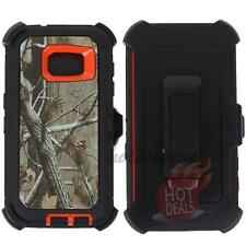 For Samsung Galaxy S7 Orange/Tree Camo Defender Case Cover (Clip Fits OtterBox)