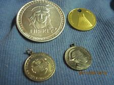 AWESOME LOT OF 4 DIFFERENT HISTORY CHARMS/PENDANTS MIXED MEDIA COIN DROPS..#7701