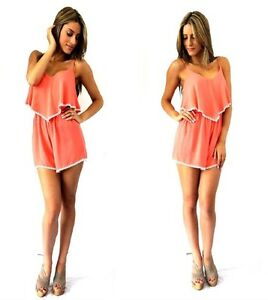 MADISON SQUARE Coral Frill Detail Forever Playsuit New SIZE M RRP $69.99