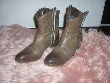 Tommy Hilfiger Western Cowboy Stiefel Stiefeletten Schuhe Braun Leder 39 Top