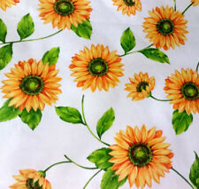 Large White Summer Sunflower Theam Floral Poly Cotton Fabric 60