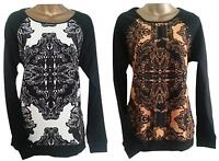 MONSOON JUMPER BLACK ORANGE ABSTRACT PRINT TOP TUNIC BLOUSE 10 12 14 !CLEARANCE!