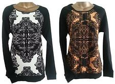LOVELY MONSOON JUMPER BLACK ORANGE ABSTRACT PRINT TOP TUNIC BLOUSE 10 12 14