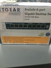 Netgear Prosafe 8 Port Gigabit Desktop Switch 10,100,1000 Mbps Gs108 New Sealed