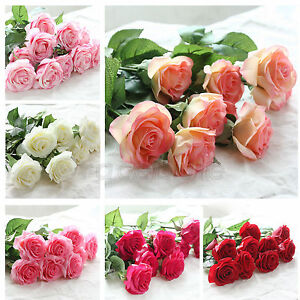 20 Head Real Latex Touch Rose Artifical Flowers Wedding Party Home Bouquet Decor