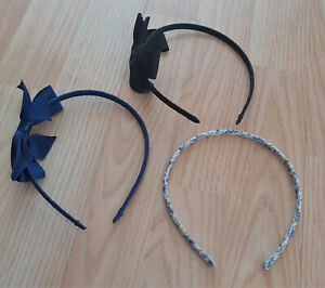 3x Claire's Accessories Hair Alice Bands Headbands School Blue & Black With Bows