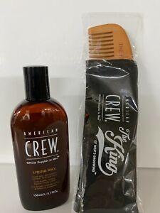 American Crew Liquid Wax Medium Hold and Shine  Crew Wax 5.1 oz ELVIS COMB  FREE
