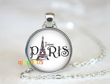 Paris Eiffel Tower Glass dome Tibet silver Chain Pendant Necklace wholesale