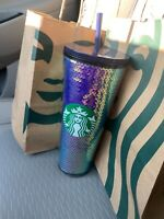 Starbucks 2020 Iridescent Purple Dichroic Sequin Holiday Cold Cup Tumbler 24 oz