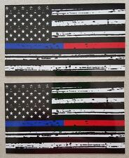 Thin Blue & Red Line FireFighter Police respect flag Vinyl Decal Sticker 3x5