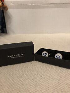 Laura Ashley Bluebirds  Cufflinks - Brand New Hand Made In Cornwall