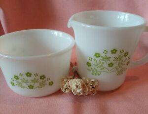 Vintage PYREX Honeydew Summer Milk Glass Creamer & Sugar Bowl Set