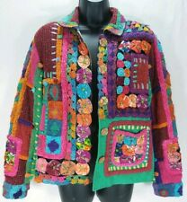 Sandy Starkman Women's Size M Jacket Colorful Floral Patch Knit Art-to-Wear Red