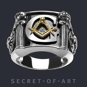 Freimaurer Ring Masonic Siegelring 925 Siber mit Gold-Plattierung Biker Herren