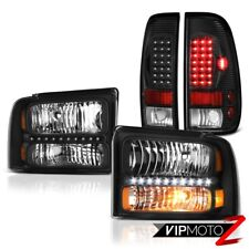 "Pair Black Headlights ""Super Bright"" LED Tail Lights 2005 2006 2007 Ford F250 XL"