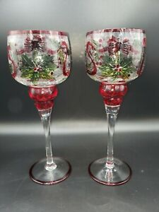 Set of 2 Yankee Candle Tall Stem Votive Crackle Glass Christmas Mistletoe & Bows