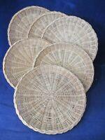 Vintage Midcentury Wicker Rattan Woven Straw Paper Plate Holder Set of Six EUC