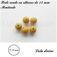 lot de 10 perles Perle lentille en silicone de 12 mm Moutarde