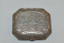 Vintage Antique Karess Woodworth New York-Paris Silver Plated Rouge Compact VGC