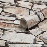 Cornualles Piedra Pared Papel pintado marrón - Arthouse 668900 Ladrillo NUEVO