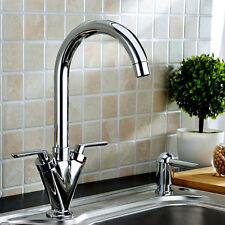 Modern Chrome Kitchen Faucet Sink Tap Dual-Lever Swivel Spout Rotating Nozzle