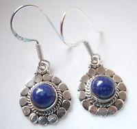 Lapis Flowers 925 Sterling Silver Dangle Earrings Corona Sun Jewelry