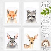 Bilder Set Wald Tiere Reh Fuchs Hase Waschbär Baby Kinder Zimmer Bild A4 | SET15