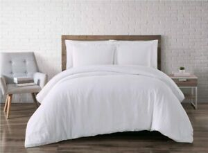 Full Queen 3PC Flax Linen Duvet Set White Brooklyn Loom
