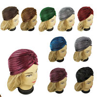 NEW Metallic Color Stretchy Turban Head Wrap Band Chemo Pleated Indian Cap Hat