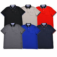 Tommy Hilfiger Mens Polo Shirt Custom Fit Interlock Top Pocket Flag Logo Casual